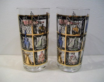 Set of 2 Seamen Sailor Nautical Glasses Mid Century Hi Ball Barware