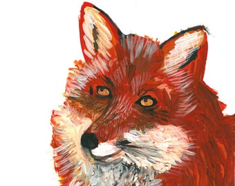 8x10 Fine Art Giclee print reproduction of original Fox portrait painting by Natalie Wright