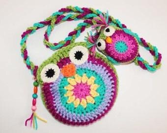 Handmade Crochet Mama Owl Bag + Baby Owl Charm/Keyring - On sale Individually or as a Set