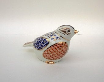 Vintage Porcelain Bird Red White Blue With Gold Accents From Japan