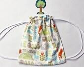 Scandinavian Fox and Owl Drawstring Backpack - Child - Toddler - Preschool - Book Bag - String Backpack - Knitting Bag - Scandinavian