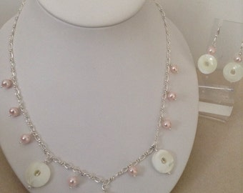 Mother of pearl shell donuts with fresh water pink pearl chain necklace and earrings set