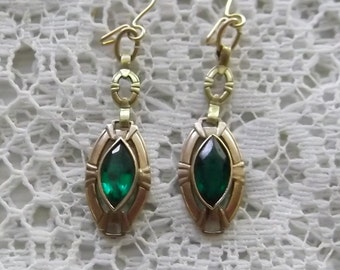 Antique Gold and Emerald Green Glass Earrings