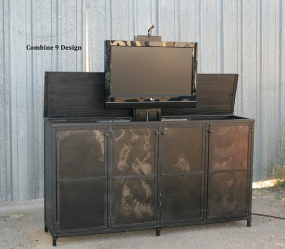 tv lift cabinet vintage industrial style modern urban. Black Bedroom Furniture Sets. Home Design Ideas