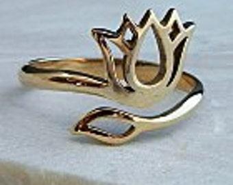 Lotus Ring, Bronze Lotus Ring, Adjustable Lotus Ring, Lotus Ring, Yoga Ring, Bronze Yoga Ring