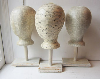 SALE Featureless Unisex Mannequin Head Hat Display and Base - Your Choice of Dictionary - Sheet Music - Vintage Text