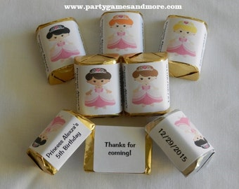 30 Unique Personalized Princess Birthday Hershey's nugget labels, candy wrappers