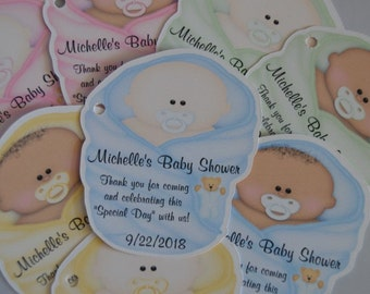 Unique Personalized Baby Shower Party Favor Gift Tags, Cut to Shape of Baby.  Colors: Blue, Pink, Green or Yellow
