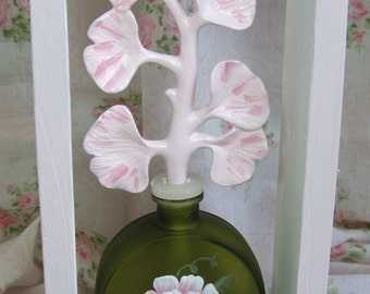 Beautiful Shadow box for Wall - Green Glass Perfume Bottle with Spray of flowers.