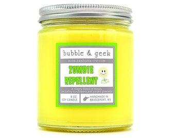 Zombie Repellent Soy Candle Jar - Sunflower scented