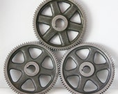 Industrial Vintage Drive Gear Cast Iron 1930s Machinery Grey Spoked Wheel Metal Decor