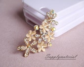 1PCS Crystal Golden Siamese Flowers Flatback Alloy jewelry Accessories materials supplies