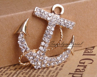 1PCS Fashion crystal Golden Anchor Alloy Jewelry accessories materials supplies