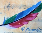 Colorful Song Bird Feather Mini, Hand painted ACEO, Art, Painting, Miniature Art, Sheet Music, Mini Oil Paintigng on Etsy