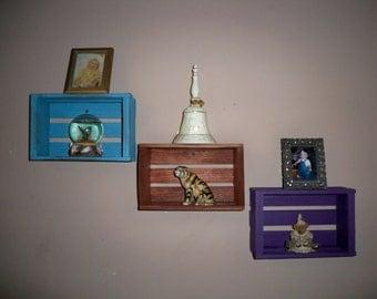 3 Wood Crates, Shelf Crates, Wall Décor Shelf's,Wall Shelf For Pictures, Storage Crate, Wood Crate Centerpiece,