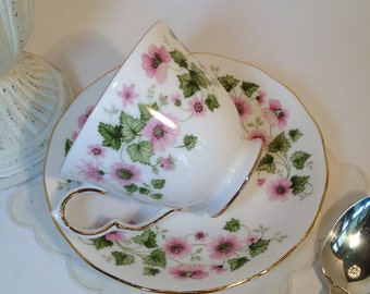 SALE Queen Anne Teacup and Saucer Bone China Made in England, Tea Party Teacup & Saucer Pink Flowers