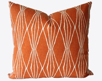 Decorative Designer Orange Graphic Pillow Cover, 18x18, 20x20, 22x22 or Lumbar Throw Pillow