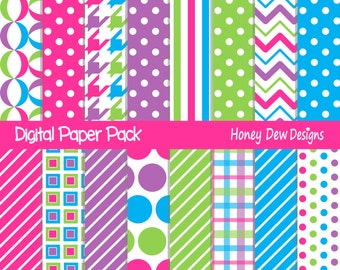 Instant Download - Digital Paper Pack 265 - Bright Colored Digital Paper Pack