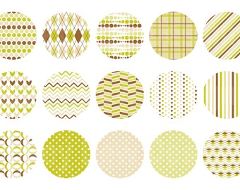 Instant Download - Digital Collage Sheet - 1inch circles - 037