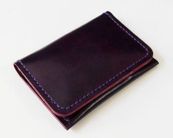 Leather Wallet - Personalised Leather Simple Wallet with Four Pockets in Violet - Handmade and Hand Stitched - Free Monogram