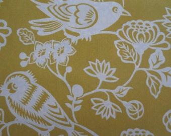 OUTDOOR Pillow Cover / Yellow Pillow Cover / Mustard Yellow Floral & Bird Print / Pillow Cover