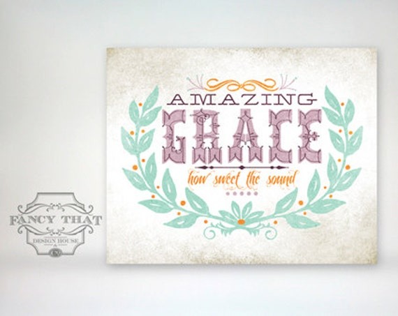 8x10 art print - Amazing Grace - Aged & Worn, Vintage Soft Warm Colors Typography Poster Print