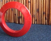 80s does 50s Chunky Cherry Red Disc Vintage Plastic Bangle Bracelet