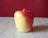 Hazel Atlas Painted Milkglass Apple Jar ~ 1950s Jelly, Jam Container with Lid