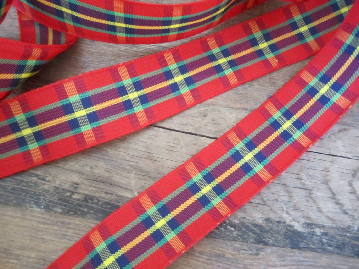 5 yds of red tartan ribbon plaid trim 1 wide red. Black Bedroom Furniture Sets. Home Design Ideas