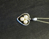 Heart Necklace Pearls Silver Vintage - greenleafvintage1