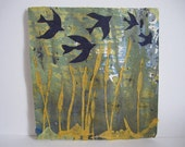 Original Swallows and Cattails Collage