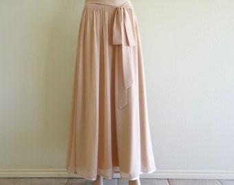 Tan Maxi Skirt.  Tan Long Bridesmaid Skirt. Chiffon Evening Skirt. Tan Floor Length Skirt.