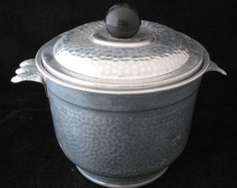 Nasco Italy Hammered Aluminum Insulated Ice Bucket Vintage 1950s 1960s