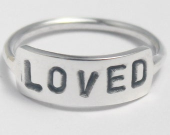 Sterling Silver Hand-stamped customized 925 stacking ring with Poetic/Inspiring word, Customized, Personalized gift