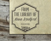 Library Stamp - Personalized Wooden Stamp - Book Stamp - FREE SHIPPING