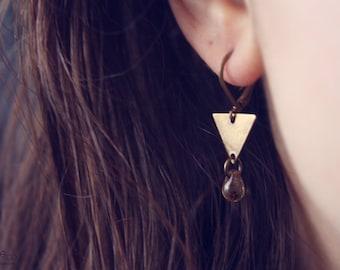 geo bronze - minimalist geometric earrings, dainty modern jewelry / raw brass - gift for her