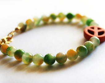 Moss agate bracelet, peace bracelet, green and orange, natural stone bracelet, gift for her, best friend gift, birthday gift