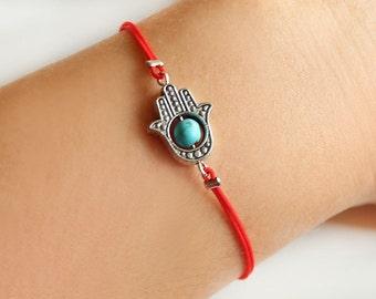 Hamsa bracelet, protected bracelet, hand bracelet, fatima hand, hamsa hand, turquoise bracelet, red string bracelet, gift for her