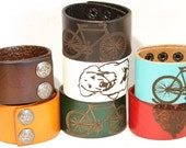Engraved Leather Cuff Bracelet Heart Bicycle Dog Paw Print B050-PS