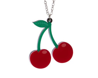 Cherries necklace - laser cut acrylic