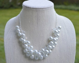White Pearl Cluster Necklace, Bridal Necklace, Bridesmaid's Necklace, Pearl Beaded Necklace