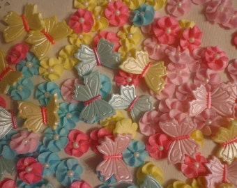Edible Gumpaste butterflies & drop flowers for cakes and cupcakes