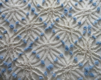 """Reserved...White Cabin Crafts Double Wedding Ring Needletuft and Blue Pops Vintage Bedspread Fabric...18 x 24"""""""