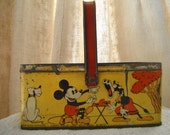 French Vintage Tin Childs Basket  Shabby Cartoon Mouse  Paris Appartment