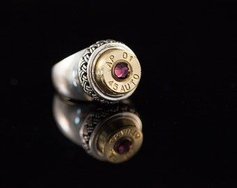 """Bullet ammo 45 Basket Weave Sterling Silver Ring- """"Purple Passion-Royalty Ring""""- Free US and Canadian Shipping"""