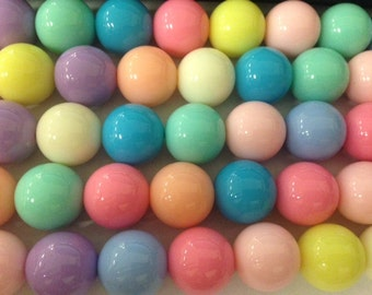 16mm round gumball beads, 22 beads, pastel colors, assorted