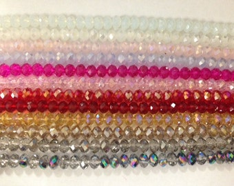 8x6mm rondelle ,faceted, chinese crystal glass, 42 beads