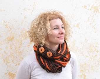 Crochet chain chunky scarf, brown orange knit rope scarf, circle winter neckwarmer, wool infinity scarf