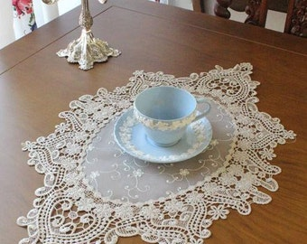 Cozymom Handmade Wedding Oval Lace Gold  Table Doily Runner,Embroidery 40x57cm