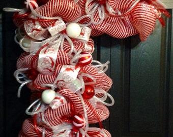 Deco Mesh Candy Cane wreath